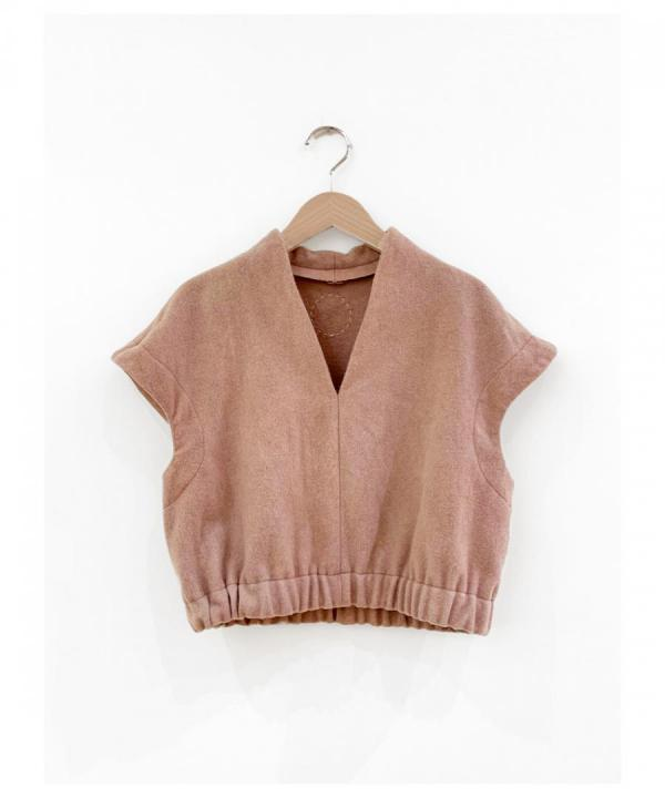 Beautiful Mud dyed wool v-necked top