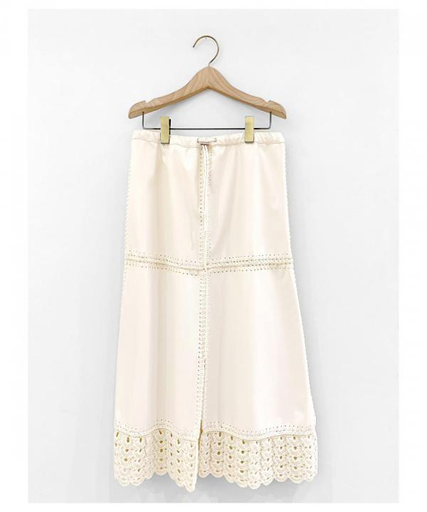 SYNTHETIC LEATHER CROCHET SKIRT